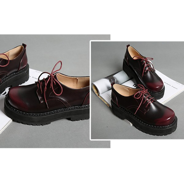 Women's Maroon Round Toe Oxfords Lace Up Vintage Shoes image 5