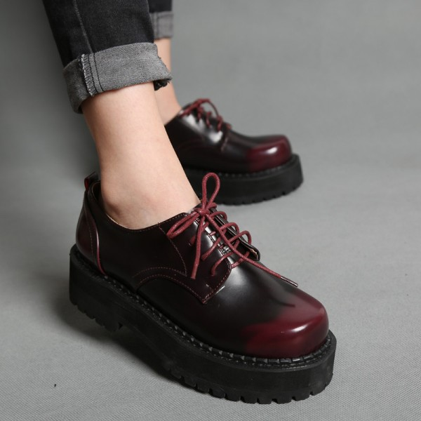 Women's Maroon Round Toe Oxfords Lace Up Vintage Shoes image 4