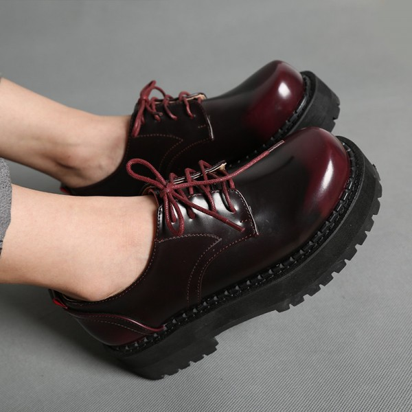 Women's Maroon Round Toe Oxfords Lace Up Vintage Shoes image 3