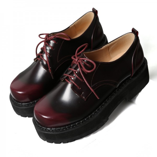 Women's Maroon Round Toe Oxfords Lace Up Vintage Shoes image 1
