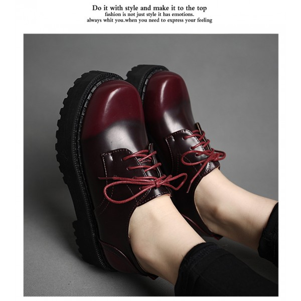 Women's Maroon Round Toe Oxfords Lace Up Vintage Shoes image 6