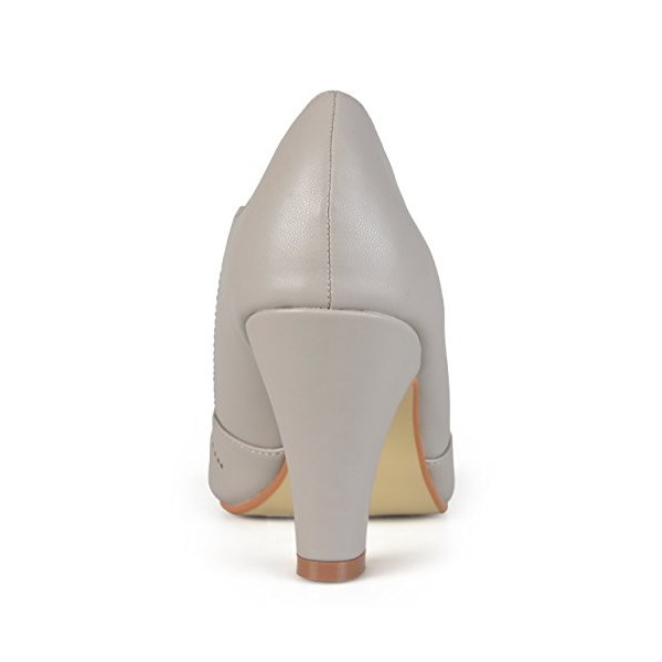 Women's Grey Cutout Round Toe Mary Jane Pumps Vintage Heels image 2