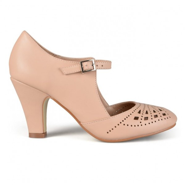 Women's Blush Cut out Round Toe Mary Jane Pumps Vintage Heels image 3