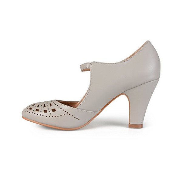 Women's Grey Cutout Round Toe Mary Jane Pumps Vintage Heels image 1