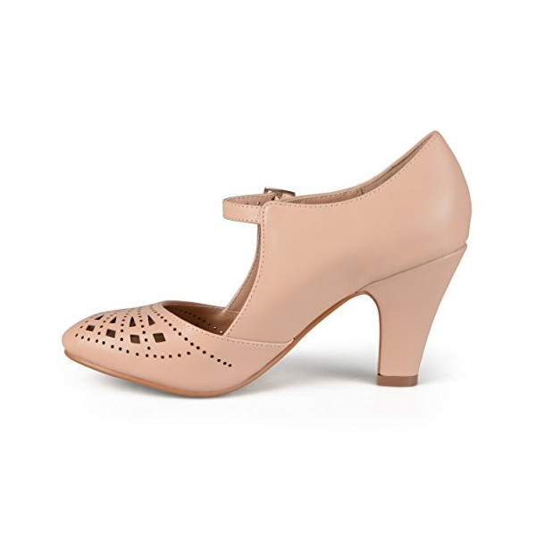 Women's Blush Cut out Round Toe Mary Jane Pumps Vintage Heels image 1