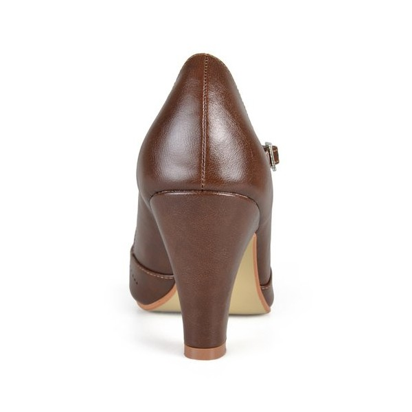 Women's Brown Cutout Mary Jane Shoes Round Toe Chunky Heels Vintage Shoes image 3