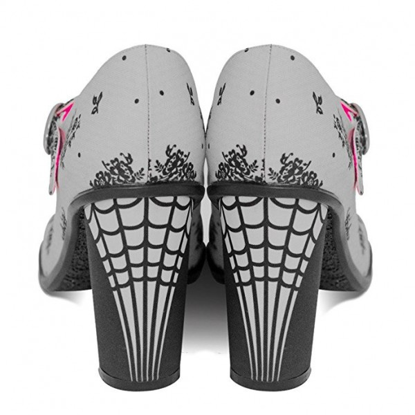 Women's Grey Spider Web Mary Jane Pumps Vintage Heels image 3