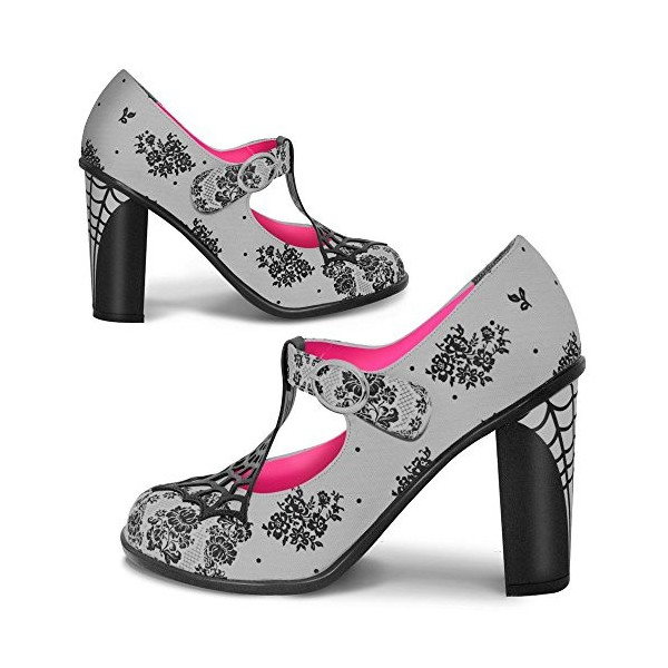 Women's Grey Spider Web Mary Jane Pumps Vintage Heels image 1