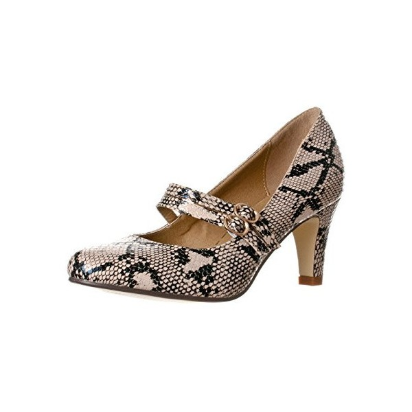 Brown Snakeskin Mary Jane Pumps Mid Heel Pumps Vintage Shoes image 1