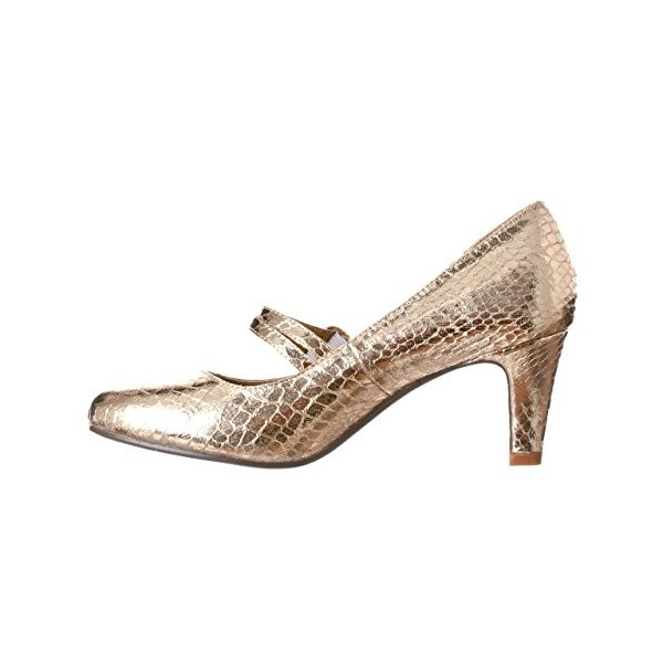 Golden Mid Heel Women's Mary Jane Pumps Vintage Heels image 4