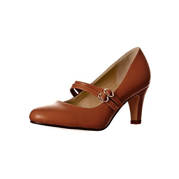 Women's Brown Mid Heel Pumps Vintage Mary Jane Shoes image 1