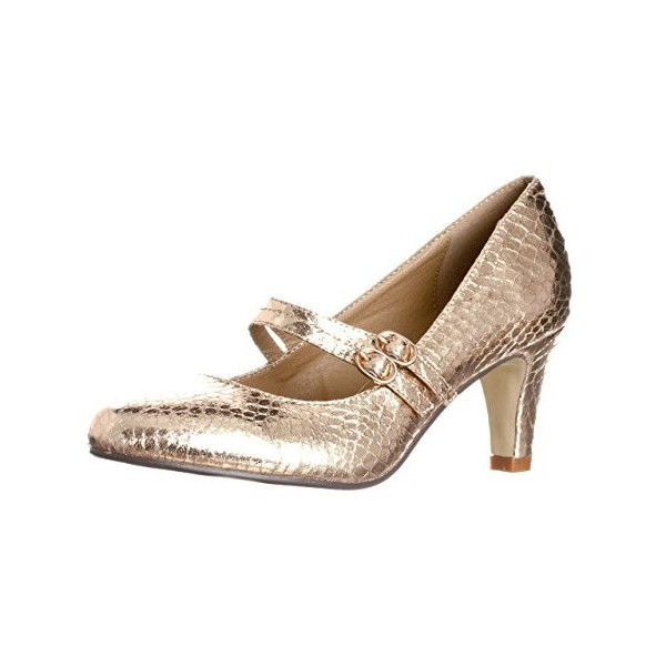 Golden Mid Heel Women's Mary Jane Pumps Vintage Heels image 1