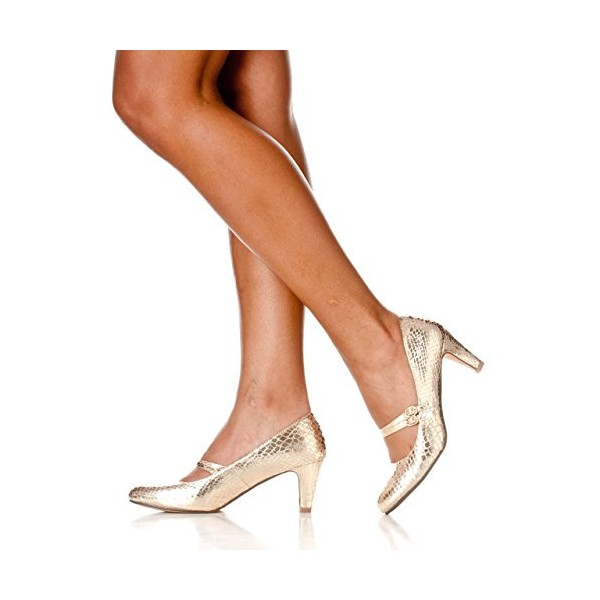 Golden Mid Heel Women's Mary Jane Pumps Vintage Heels image 5