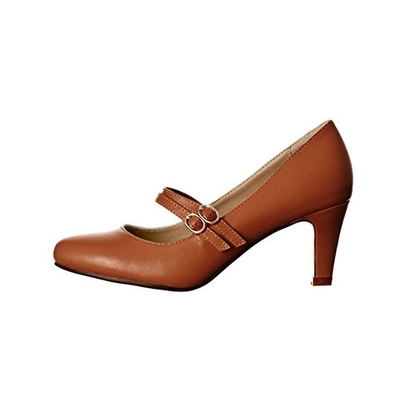Women's Brown Mid Heel Pumps Vintage Mary Jane Shoes image 4