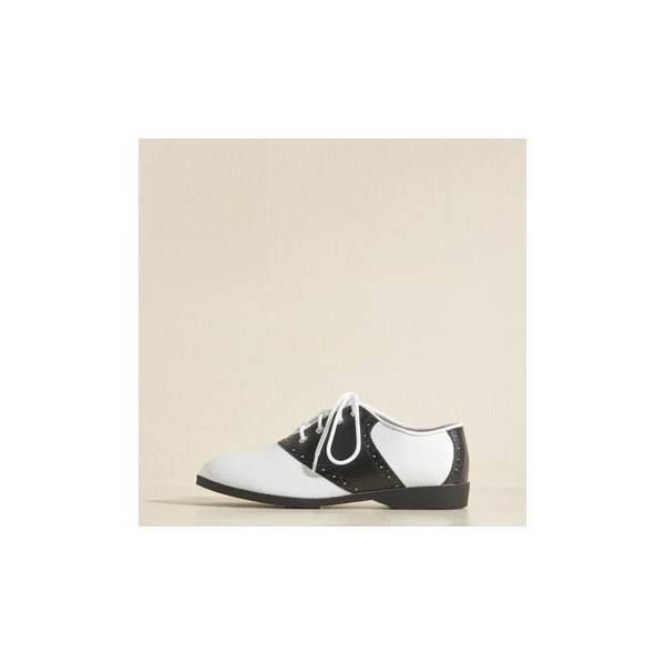 Black and White Women's Oxfords Lace-up Flats Vintage Shoes image 4