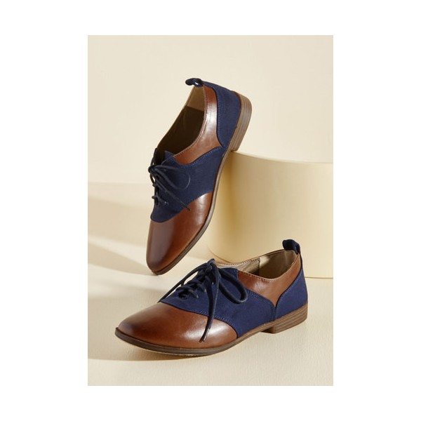 Brown and Navy Women's Oxfords Round Toe Flats Lace up Vintage Shoes image 3