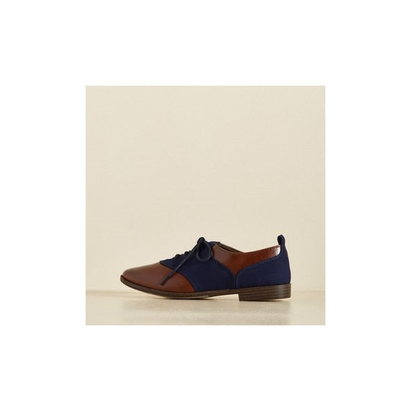 Brown and Navy Women's Oxfords Round Toe Flats Lace up Vintage Shoes image 5