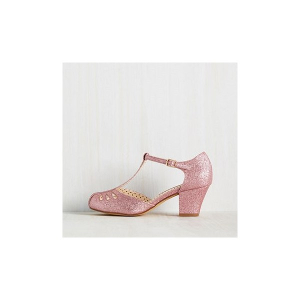 Women's Pink Girlish Glitter T-Strap Shoes Chunky Heels Vintage Shoes image 3