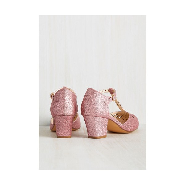 Women's Pink Glitter  Vintage Chunky Heels T-Strap Shoes image 2