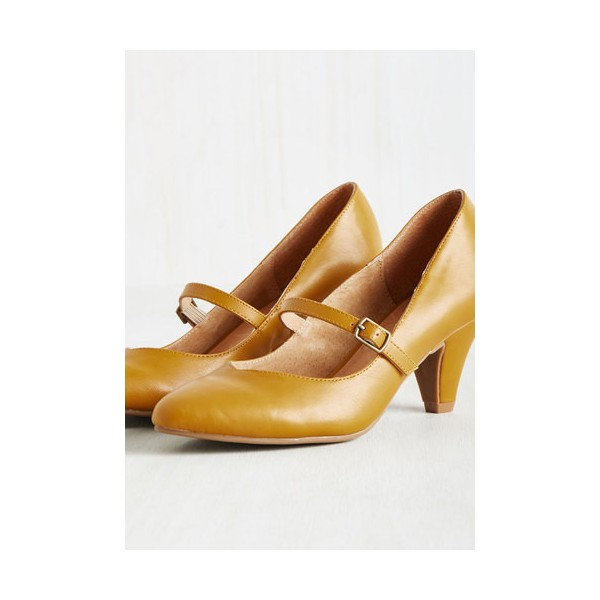 Women's Mustard Low-cut Uppers Mary Jane Heels Vintage Pumps image 4