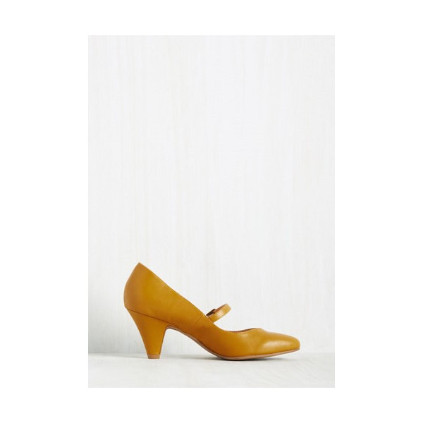 Women's Mustard Low-cut Uppers Mary Jane Heels Vintage Pumps image 5