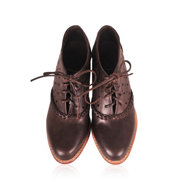 Women's Maroon Lace-up Chunky Heels Vintage Shoes image 2