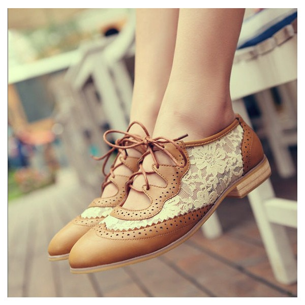 a2a78660 Brown Lace Women's Oxfords Vintage Shoes Lace-up Comfortable Flats