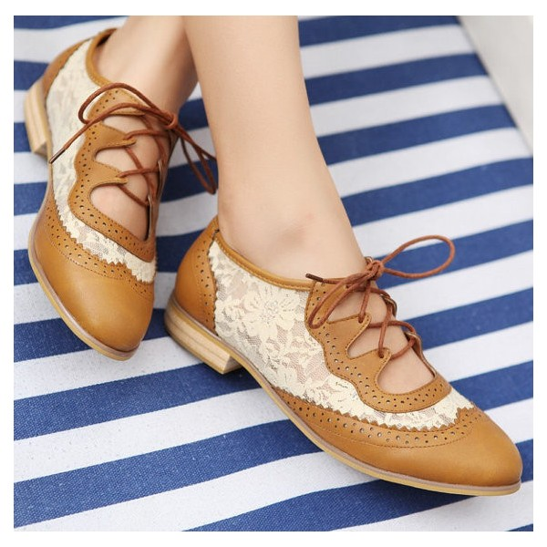 Brown Lace Women's Oxfords Vintage Shoes Lace-up Comfortable Flats image 3
