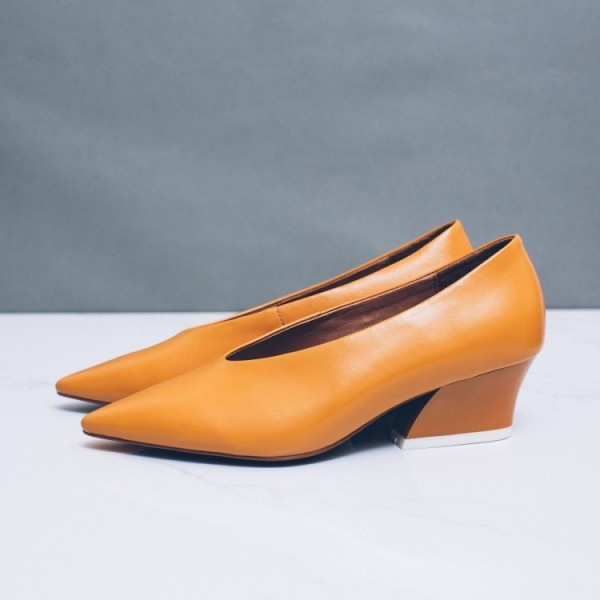 Ginger Vintage Heels Pointy Toe Chunky Heel Retro Pumps image 4
