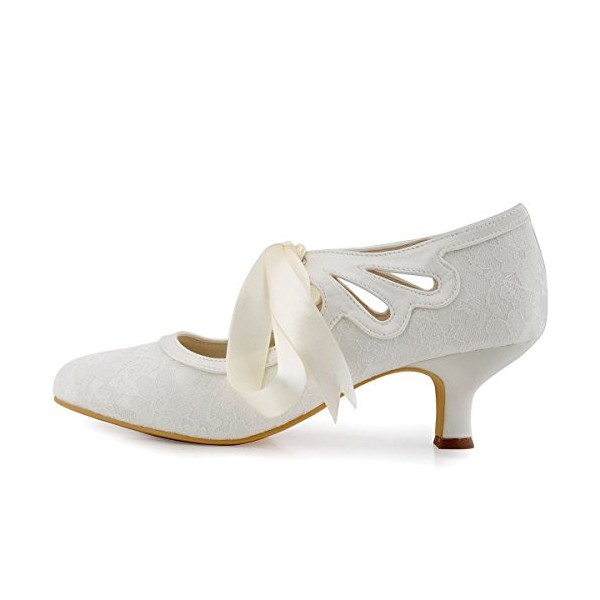 White Wedding Shoes Tie up Lace Heels for Bride image 2