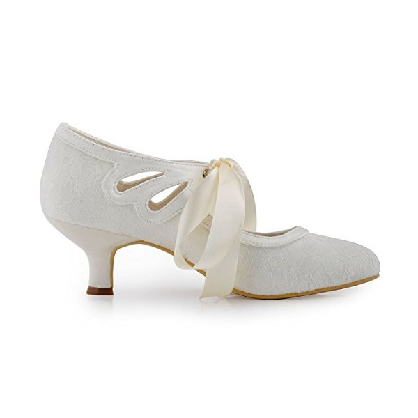 White Wedding Shoes Tie up Lace Heels for Bride image 3