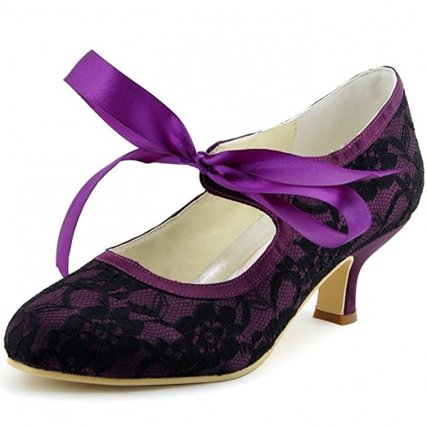 Women's Purple Lace Strappy Round Toe Wedding Shoes  image 1
