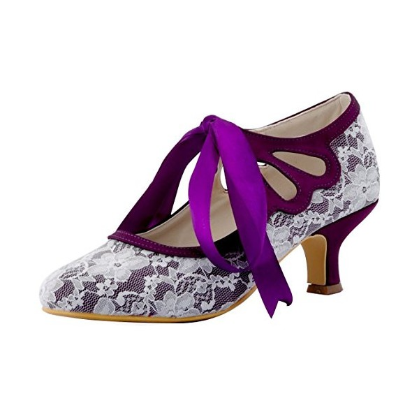 Purple Lace Heels Tie up Vintage Kitten Heel Pumps for Wedding image 1