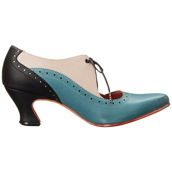 Women's Blue Cut-out Lace-up Vintage Chunky Heels Shoes image 3