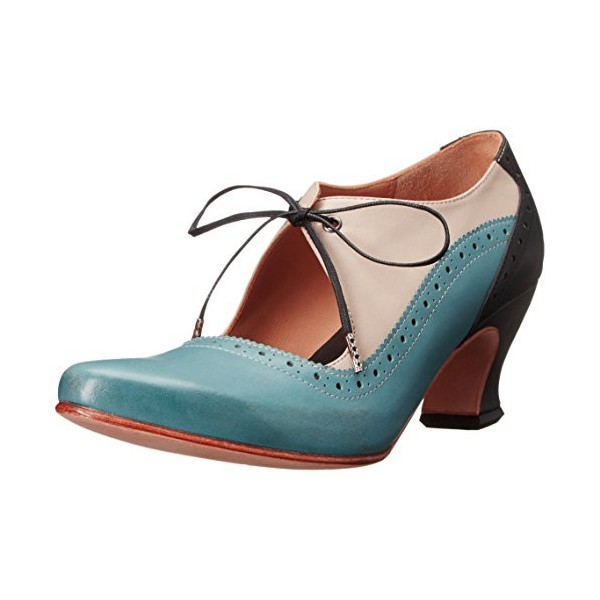 Women's Blue Cut-out Lace-up Vintage Chunky Heels Shoes image 1