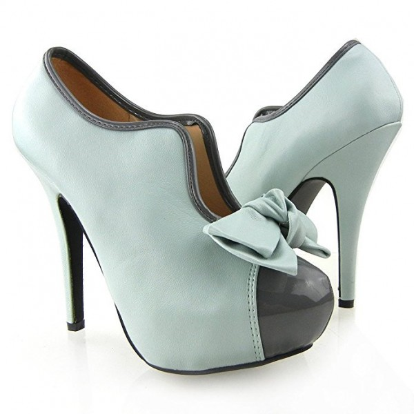 Women's Turquoise Vintage Shoes Platform Stiletto Heels Pumps with Bow image 2