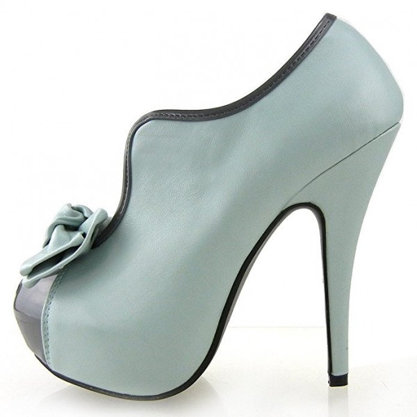 Women's Turquoise Vintage Shoes Platform Stiletto Heels Pumps with Bow image 5