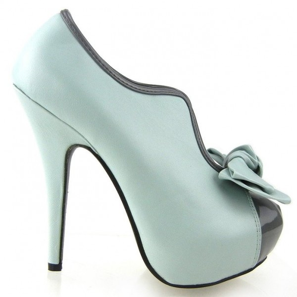 Women's Turquoise Vintage Shoes Platform Stiletto Heels Pumps with Bow image 3