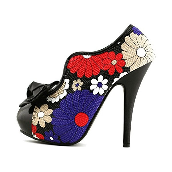 Floral Bow Stiletto Heels Platform Ankle Booties Vintage Shoes image 1