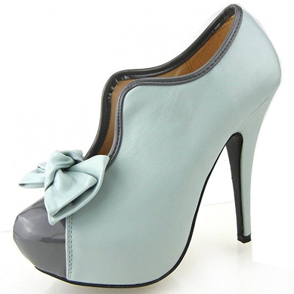 Women's Turquoise Vintage Shoes Platform Stiletto Heels Pumps with Bow image 6
