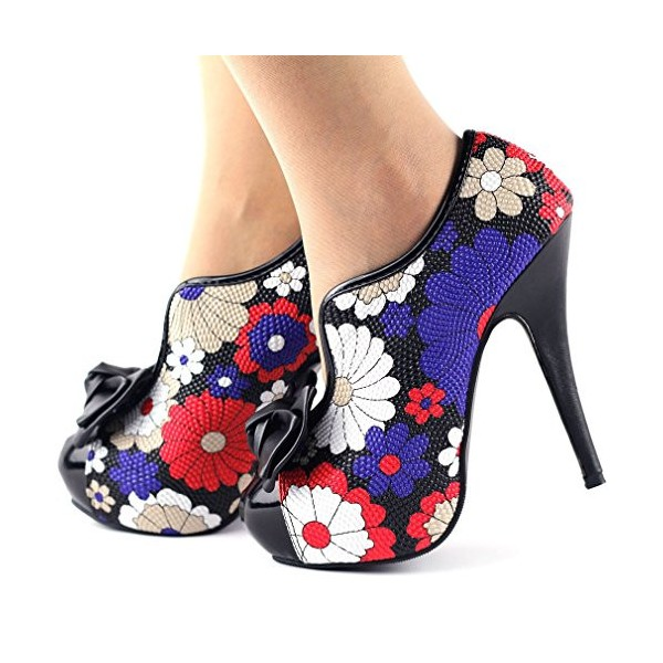 Floral Bow Stiletto Heels Platform Ankle Booties Vintage Shoes image 4