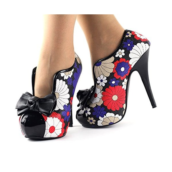 Floral Bow Stiletto Heels Platform Ankle Booties Vintage Shoes image 3