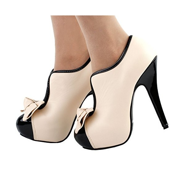Beige Platform Heels Round Toe Vintage Pumps with Bow image 3