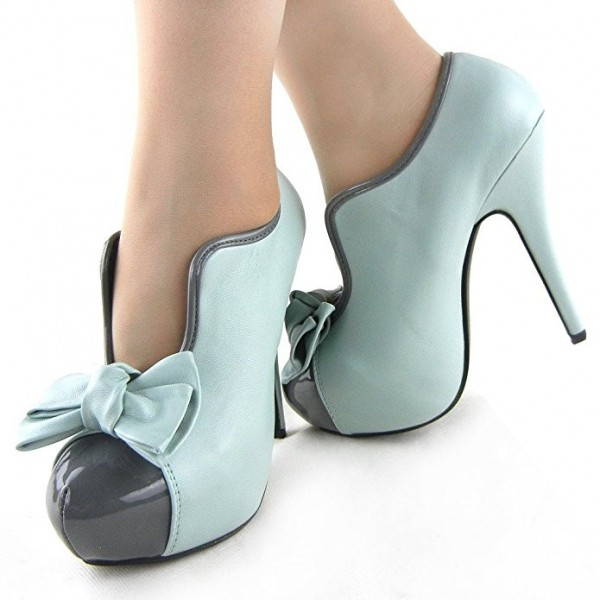 Women's Turquoise Vintage Shoes Platform Stiletto Heels Pumps with Bow image 1