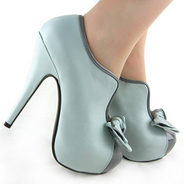 Women's Turquoise Vintage Shoes Platform Stiletto Heels Pumps with Bow image 4