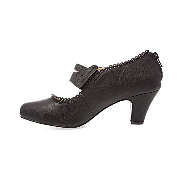 Black Low-cut Uppers Women's Vintage Heels image 2