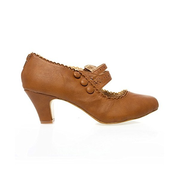 Tan Vintage Heels Closed Toe Chunky Heel Retro Shoes image 2