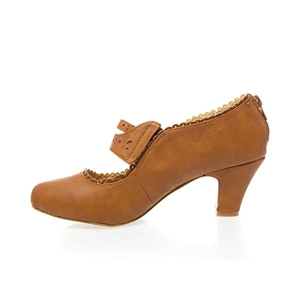 Tan Vintage Heels Closed Toe Chunky Heel Retro Shoes image 3