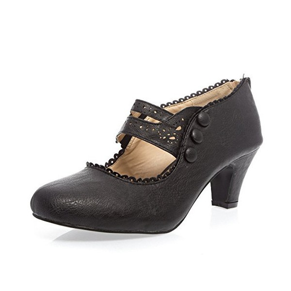 Black Low-cut Uppers Women's Vintage Heels image 1