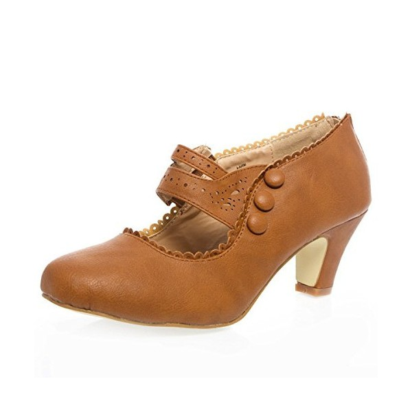 Tan Vintage Heels Closed Toe Chunky Heel Retro Shoes image 1